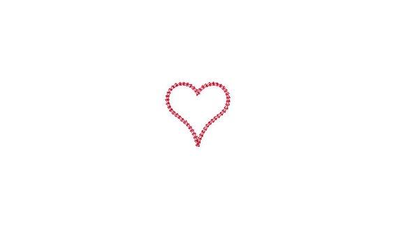Chain Stitch Heart - 5cm - Machine Embroidery File design - 4x4 inch hoop - Monogram Frame