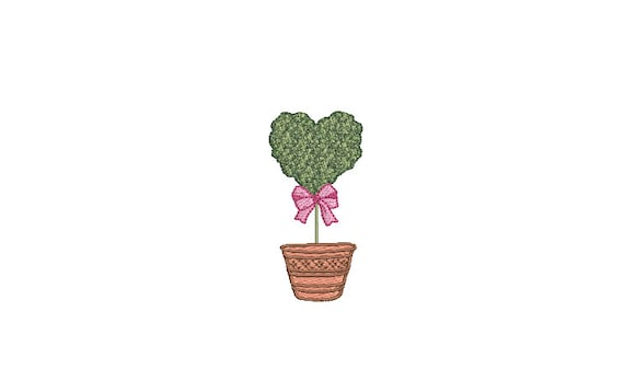 Heart Topiary Tree Embroidery Design -  Machine Embroidery File design - 3 x 3 inch hoop - Instant Download