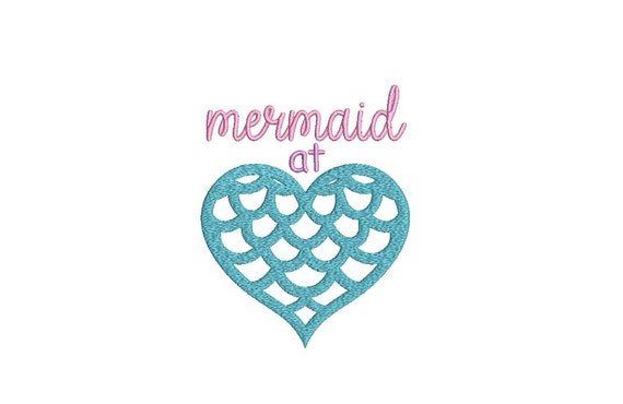Mermaid Machine Embroidery File design Download 5x7inch - Mermaid At Heart - instant download