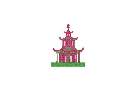 Chinoiserie Chic Monogram Pagoda Machine Embroidery File design 4x4 hoop