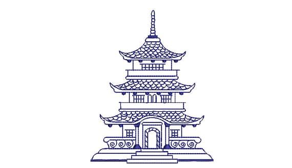 Chinoiserie Chic Monogram Blue Pagoda Machine Embroidery File design  - 4x4 hoop