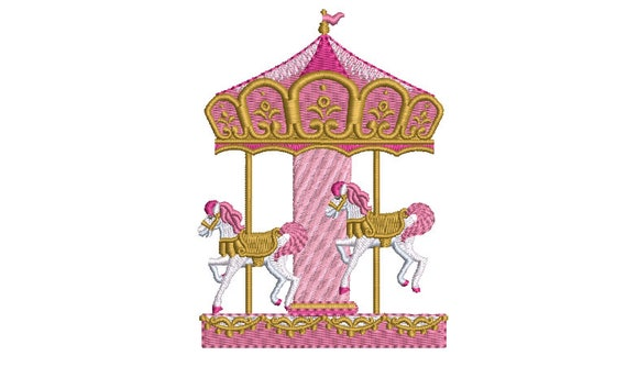 Pink Carousel Embroidery - Machine Embroidery File design 4x4 inch hoop - Instant Download - Horse Embroidery