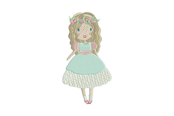 Whimsical Flower Girl Doll Machine Embroidery File design 5x7 inch hoop