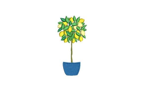 Lemon Tree Machine Embroidery File design - 4 x 4 inch hoop - Topiary Tree