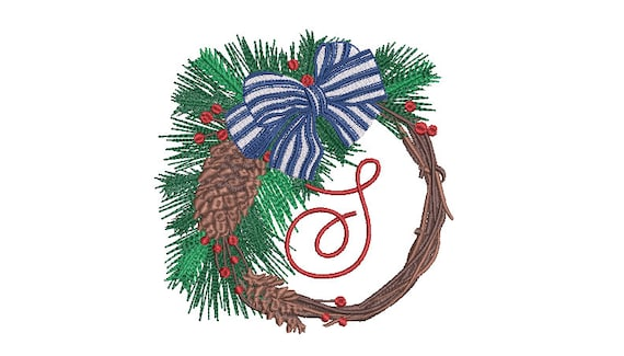 Christmas Pine Cone Wreath Embroidery - Machine Embroidery File - design 5x7 inch hoop - Monogram frame