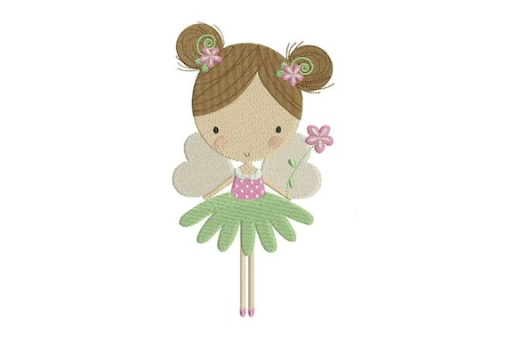 Flower Fairy Doll Machine Embroidery File design 5x7 inch hoop - Flower Fairy 3