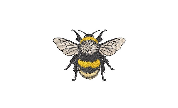 Bumblebee embroidery - Machine Embroidery File design - 4 x 4 inch hoop - Bee Embroidery Design