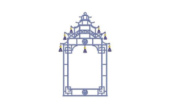 Chinoiserie Chic Monogram Temple Tassel Pagoda Frame Machine Embroidery File design 5x7 hoop