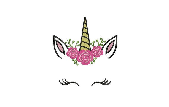 Unicorn Embroidery Design - Machine Embroidery Camellia Unicorn Face File design 5x7 inch hoop - instant download
