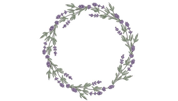 Lavender Wreath Embroidery - Machine Embroidery File - design 8x8 inch hoop - Monogram frame