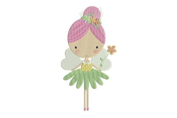 Flower Fairy Doll Machine Embroidery File design 5x7 inch hoop - Flower Fairy 1