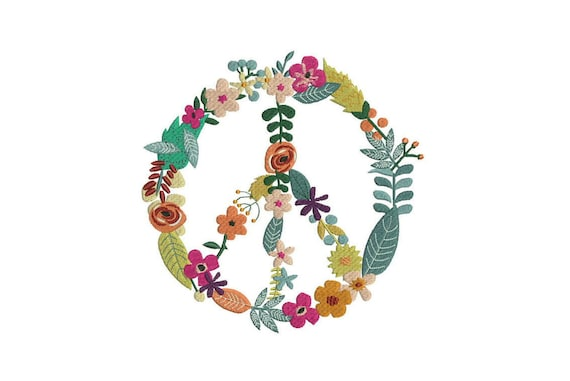 Machine Embroidery Whimsical Peace Flower Wreath Machine Embroidery File design 8x12 inch hoop