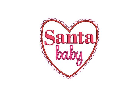 Santa Baby Christmas Embroidery - Xmas Lace Heart Machine Embroidery File design 4x4 inch hoop - Instant Download