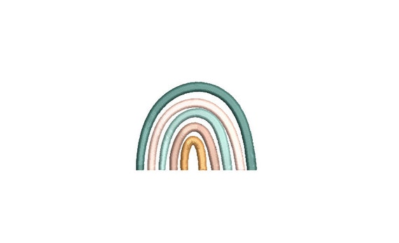 Boho Rainbow Mini Embroidery File design -  3x3 hoop - Satin stitch Rainbow - Rainbow Embroidery File