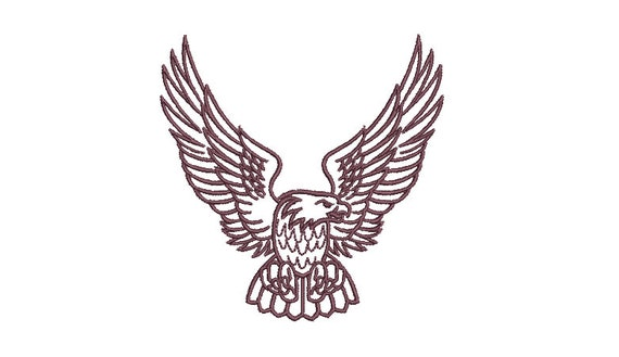Eagle Outline  - Machine Embroidery File design - 4x4 inch hoop - Cap design - patch design