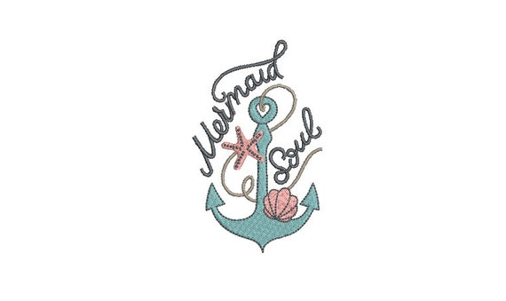Mermaid Soul Machine Embroidery Design - Machine Embroidery File design - 4 x 4 inch hoop - Instant download