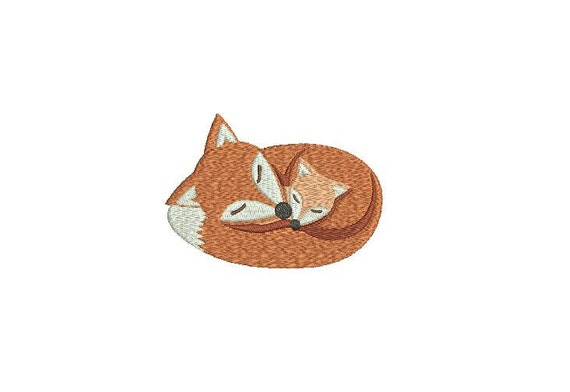 Fox Embroidery - Machine Embroidery Woodland Fox & Baby Machine Embroidery File design 4 x 4 inch hoop