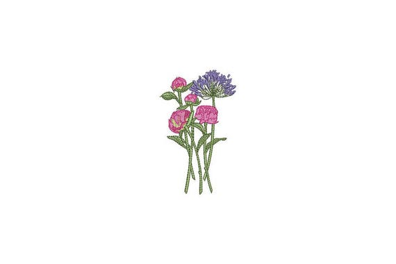 Machine Embroidery Flower Stems Machine Embroidery File design 4 x 4 inch hoop