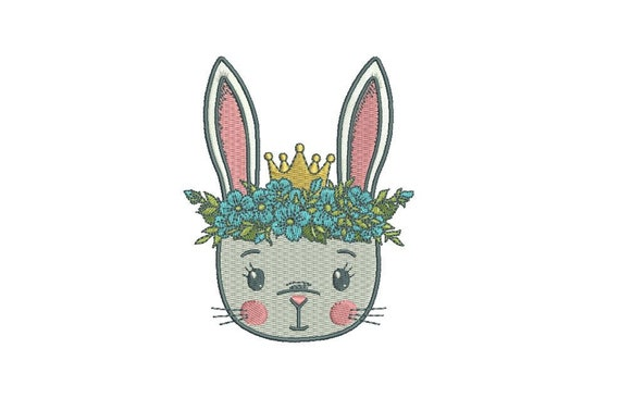 Machine Embroidery Bunny with Flower Crown Embroidery File design 4x4 inch hoop