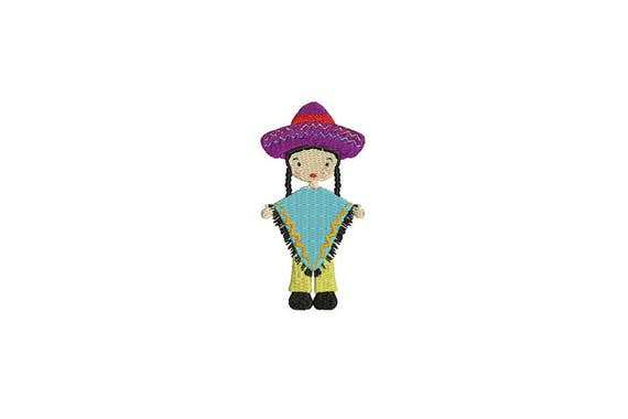 Mexican Folksy Girl Poncho & Pants Machine Embroidery File design 4 x 4 inch hoop - instant download