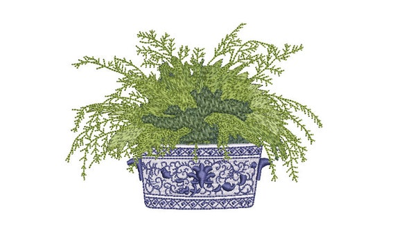 Chinoiserie Silk Fern -  Hamptons Pot Plant - Machine Embroidery File design - 5x7 inch hoop - Instant Download