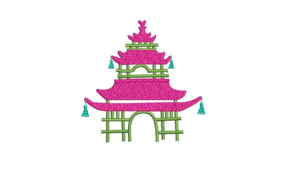 Chinoiserie Chic Monogram Pink Pagoda Machine Embroidery File design 4x4 hoop