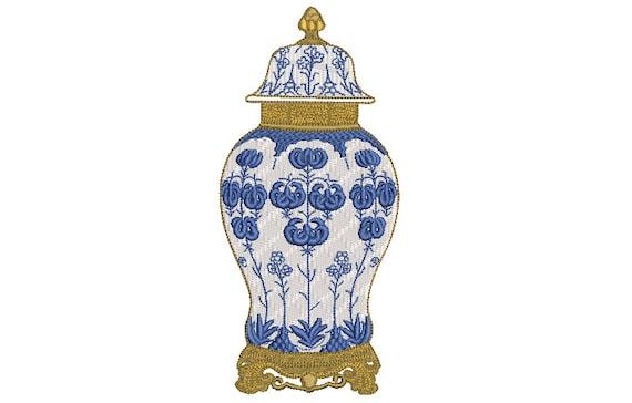 Chinoiserie Filagree Ginger Jar -  Machine Embroidery File design - 5x7 hoop - 13cm x 18cm hoop