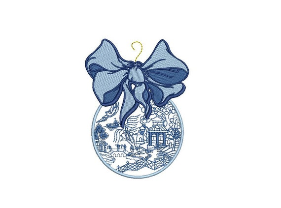 Blue Willow Bauble Ornament - Christmas Machine Embroidery File design - 4x4 inch hoop - Chinoiserie Chic