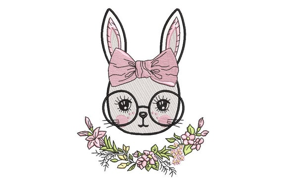 Machine Embroidery - Bunny with Glasses & Bow - Flowers - Embroidery File design - 5x7 inch hoop