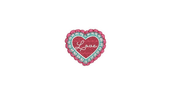 Valentines Lace Red Heart LOVE Machine Embroidery File design  - 4 x 4 inch hoop - Embroidered Patch Design