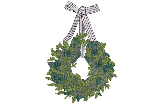 Ribbon Wreath Embroidery - Machine Embroidery File - design 5x7 inch hoop - Monogram frame