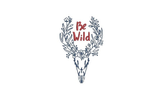 Machine Embroidery Antlers Be Wild Bohemian Machine Embroidery File design 4x4 inch hoop