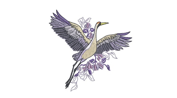 Lavender Crane Bird Machine Embroidery File design - 5x7inch hoop - instant download embroidery file