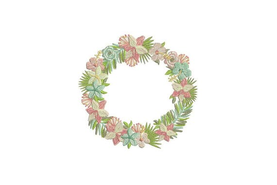 Lily Wreath Embroidery - Flowers Machine Embroidery - Embroidery File design - 5x7 hoop - Lilly - Lilli