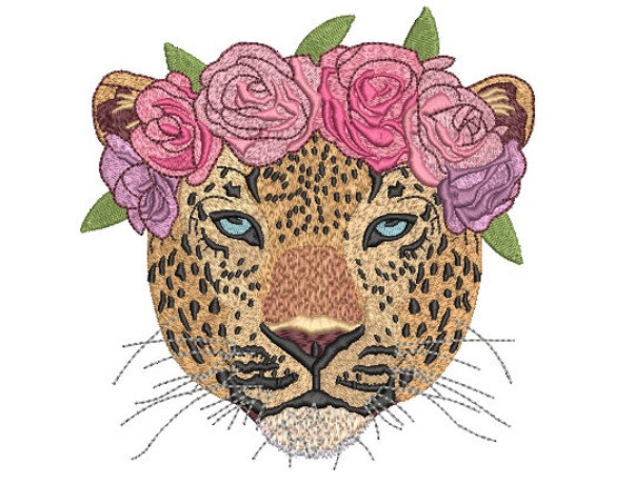 Leopard Flower Crown Machine Embroidery File design - 6x10 inch hoop - Leopard Face - instant download