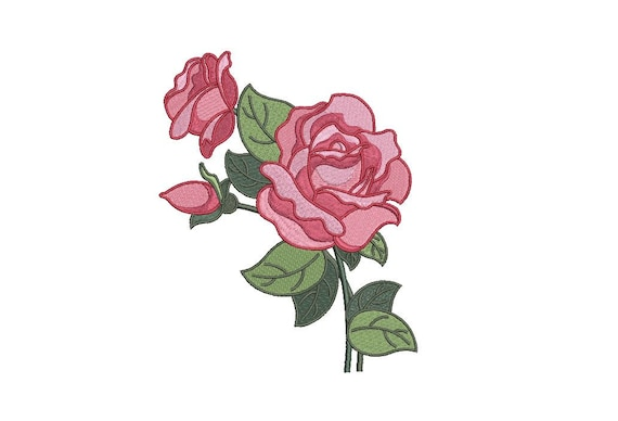 Pretty Roses Machine Embroidery File design - 5 x 7 inch hoop - Instant download