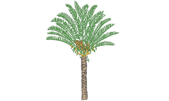 Cycas Palm Tree Machine Embroidery File design - 5 x 7 inch hoop - Palm Silhouette -  Brother Embroidery