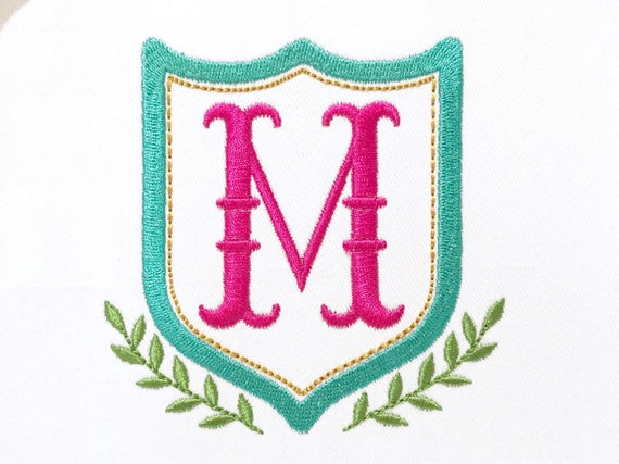 Vine Crest Machine Embroidery File design 5x7 inch hoop - Monogram Frame