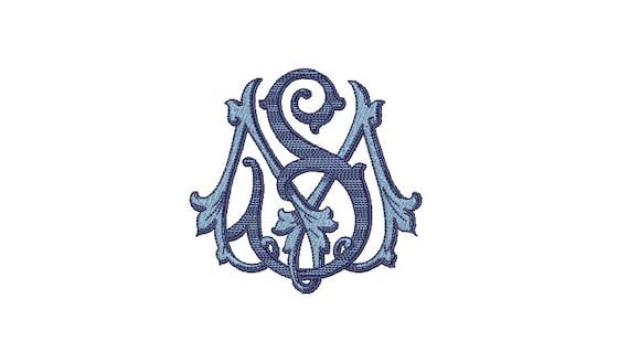Victorian S M Monogram -  Machine Embroidery File design - 4x4 inch hoop - Vintage Monogram