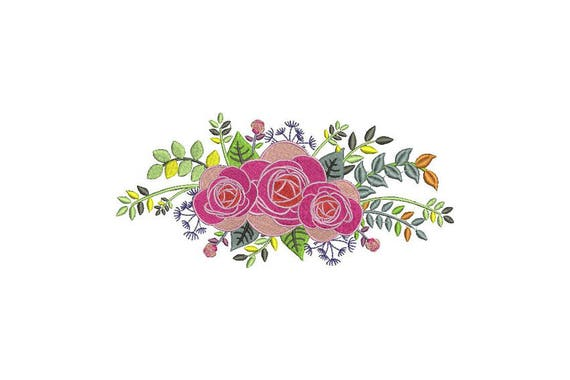 Colourful Rose Arrangement Machine Embroidery File design 5 x 7 inch hoop