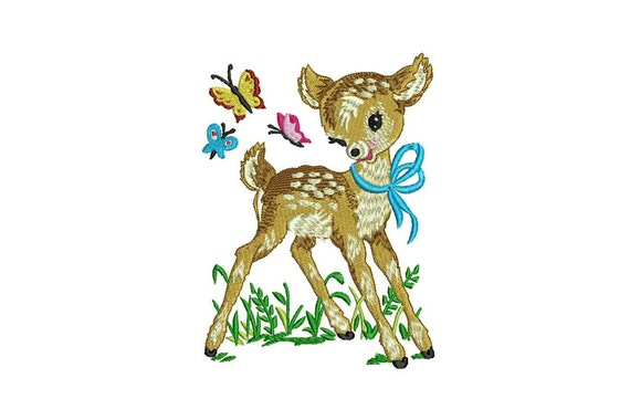 Deer & Butterflies Retro Vintage Machine Embroidery File design 5x7 hoop - instant download