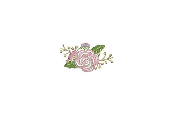Pink Flowers Machine Embroidery File design 4 x 4 inch hoop -  Rose Embroidery
