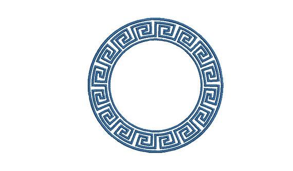 Greek Key Circle Monogram Frame -  Machine Embroidery File design -  4x4 hoop - Round Border Frame