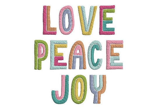 Love Peace Joy Machine Embroidery File design - 5x7 inch hoop - Instant download