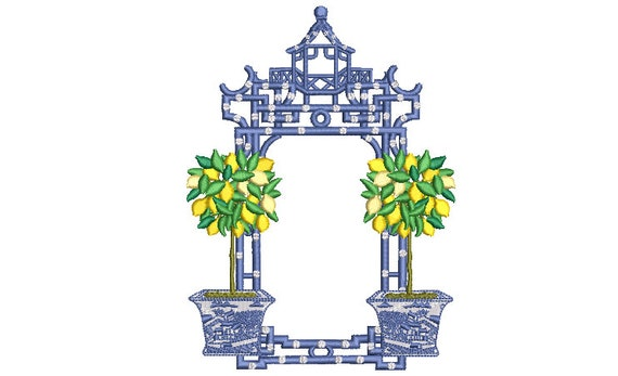Chinoiserie Lemon Tree Pagoda - Machine Embroidery File design -5 x 7 inch hoop - Instant Download - Monogram Frame