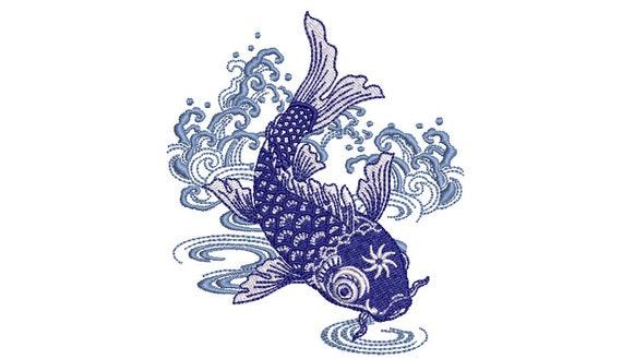 Chinoiserie Blue Koi Fish Machine Embroidery File design - 4x4 inch hoop - Koi Design
