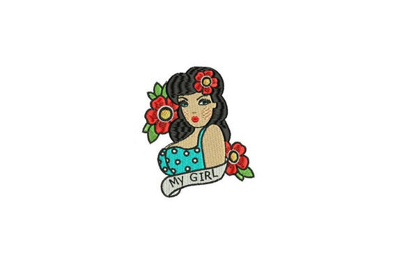 My Girl Pinup Tattoo Retro Machine Embroidery File design 4 x 4 inch hoop