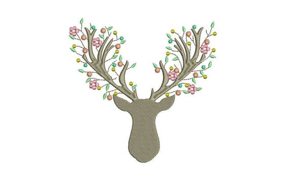 Boho Deer Stag Antlers With Flowers Bohemian Machine Embroidery File design 6x10inch hoop