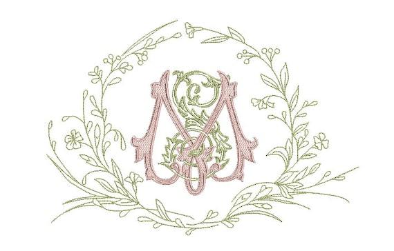 S M Pretty Monogram Wreath Framed  Machine Embroidery File design -  8x12 inch hoop - Monogram Frame