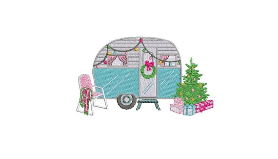 Christmas Caravan Camping Machine Embroidery File design 5x7 inch hoop - instant download